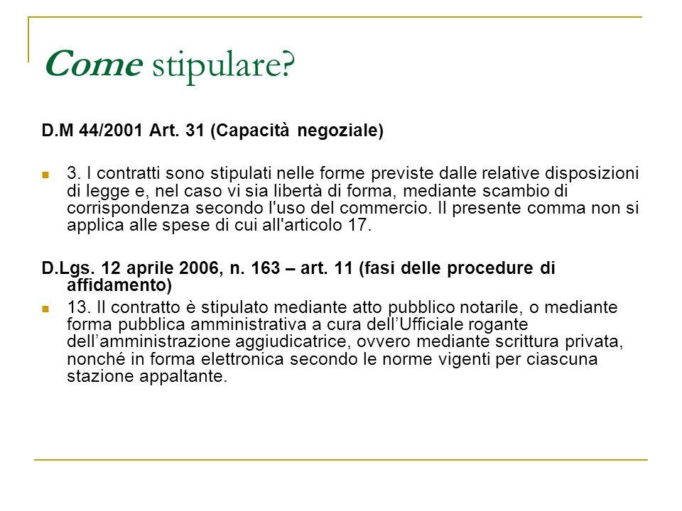 Come stipulare D.M 44/2001 Art. 31 (Capacità negoziale)