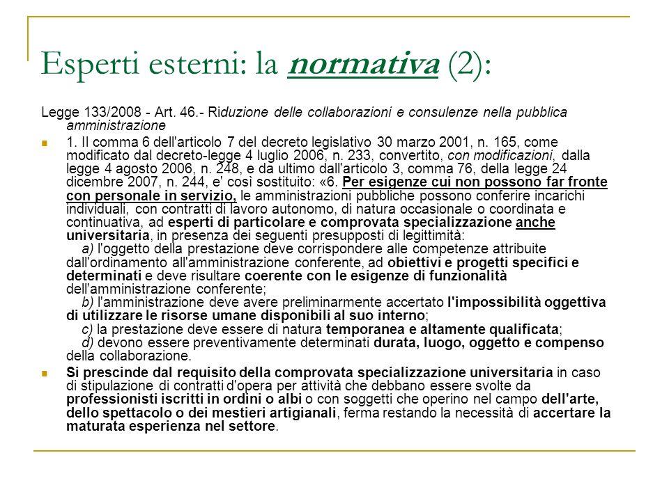 Esperti esterni: la normativa (2):