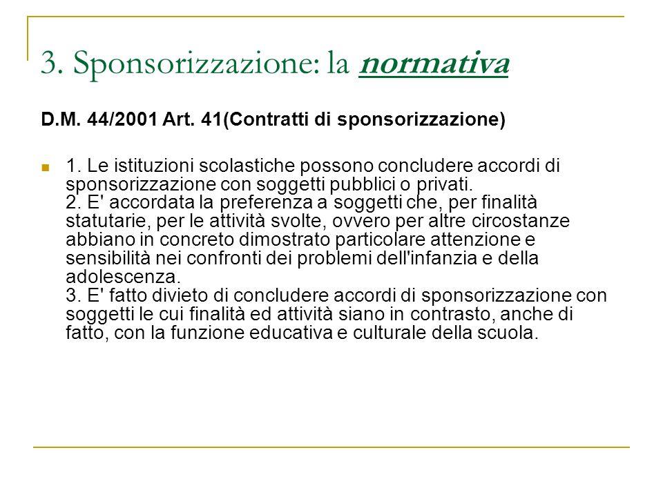 3. Sponsorizzazione: la normativa