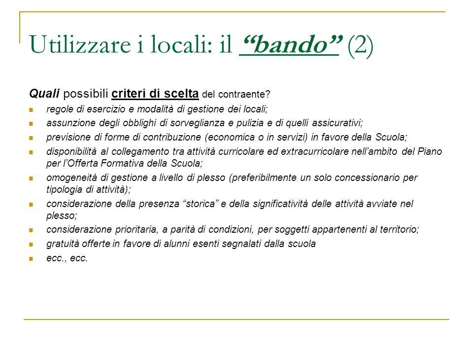 Utilizzare i locali: il bando (2)