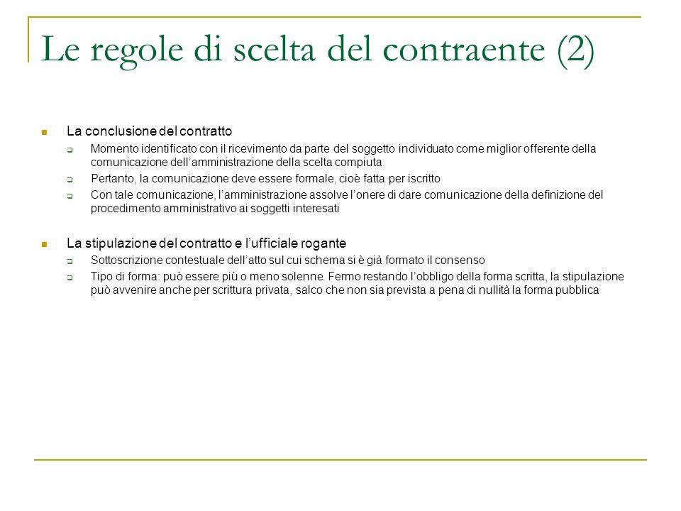 Le regole di scelta del contraente (2)