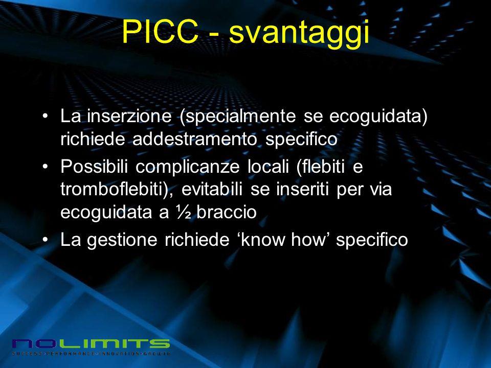 PICC - svantaggi La inserzione (specialmente se ecoguidata) richiede addestramento specifico.