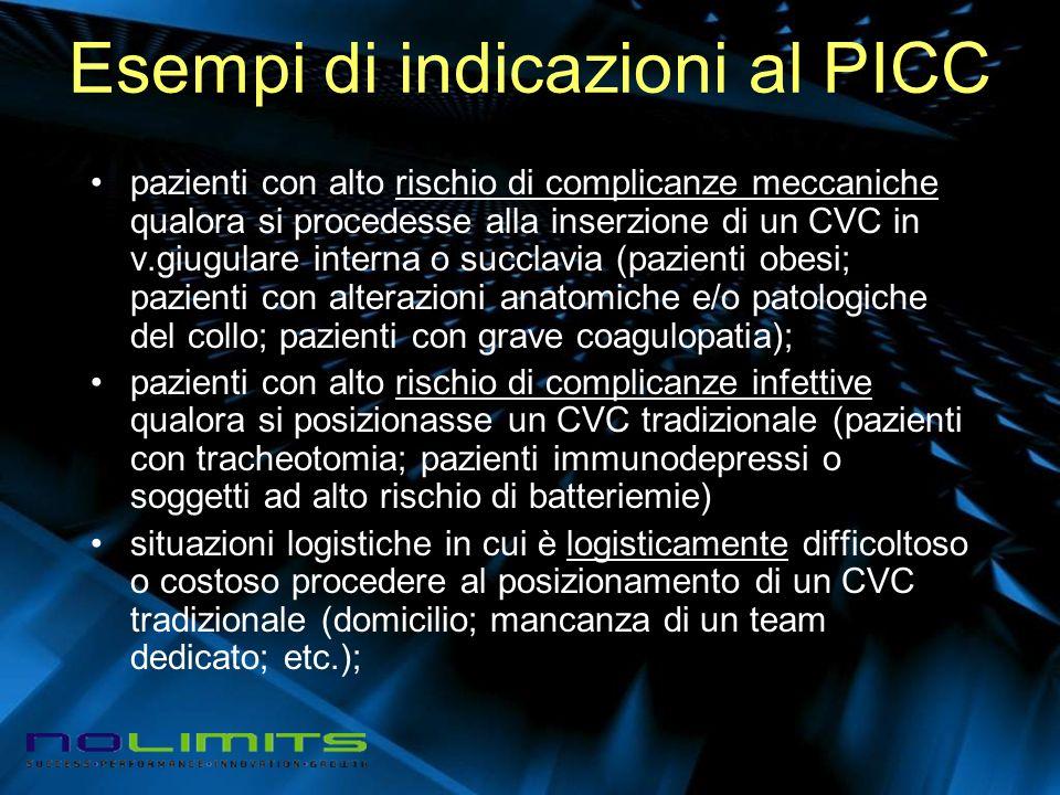 Esempi di indicazioni al PICC