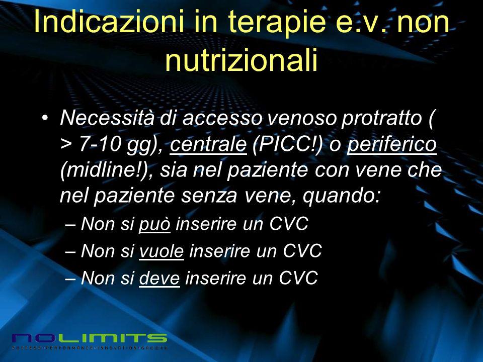 Indicazioni in terapie e.v. non nutrizionali