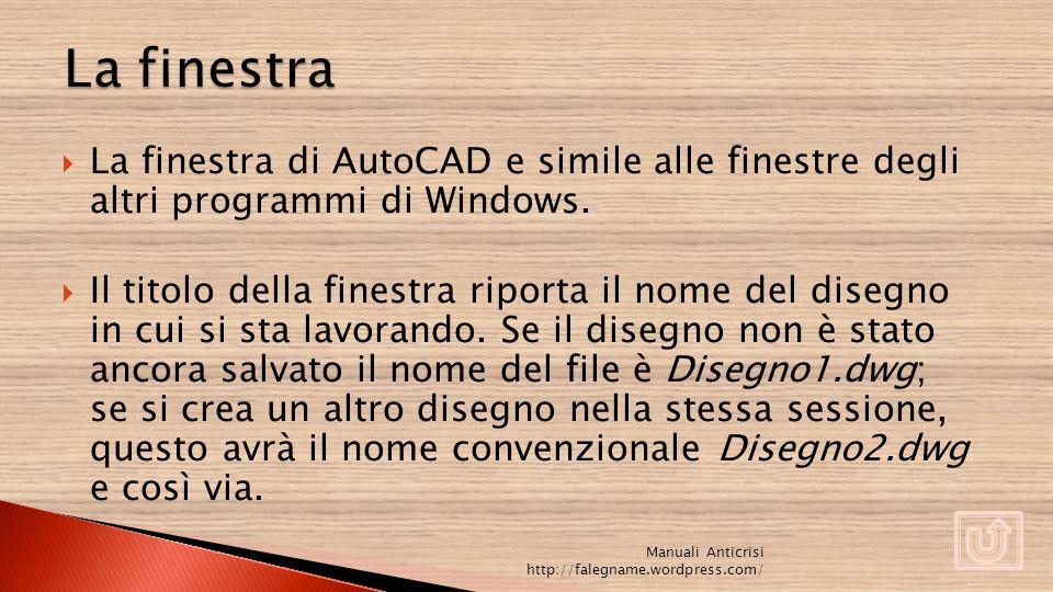 La finestra La finestra di AutoCAD e simile alle finestre degli altri programmi di Windows.