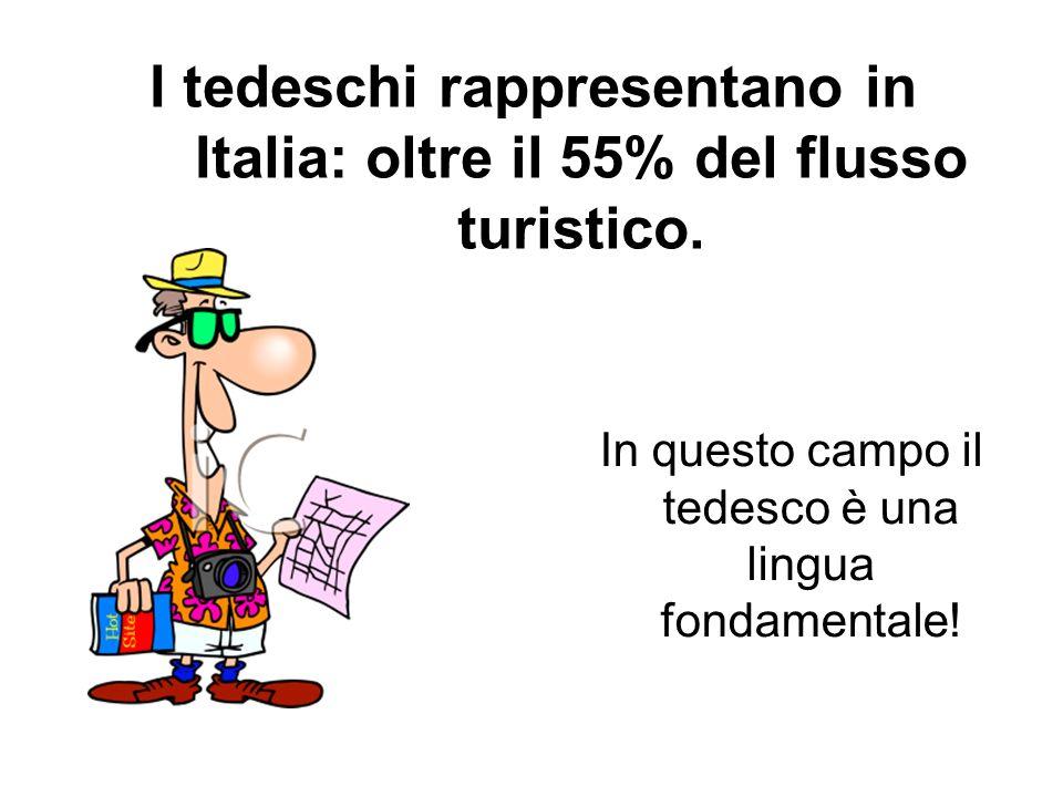 I tedeschi rappresentano in Italia: oltre il 55% del flusso turistico.