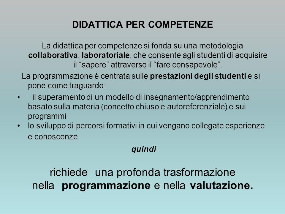 DIDATTICA PER COMPETENZE