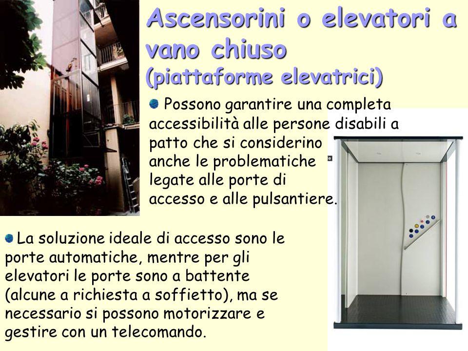 Ascensorini o elevatori a vano chiuso (piattaforme elevatrici)