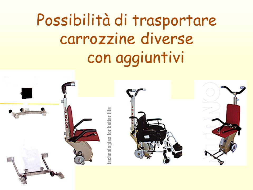 Possibilità di trasportare carrozzine diverse con aggiuntivi