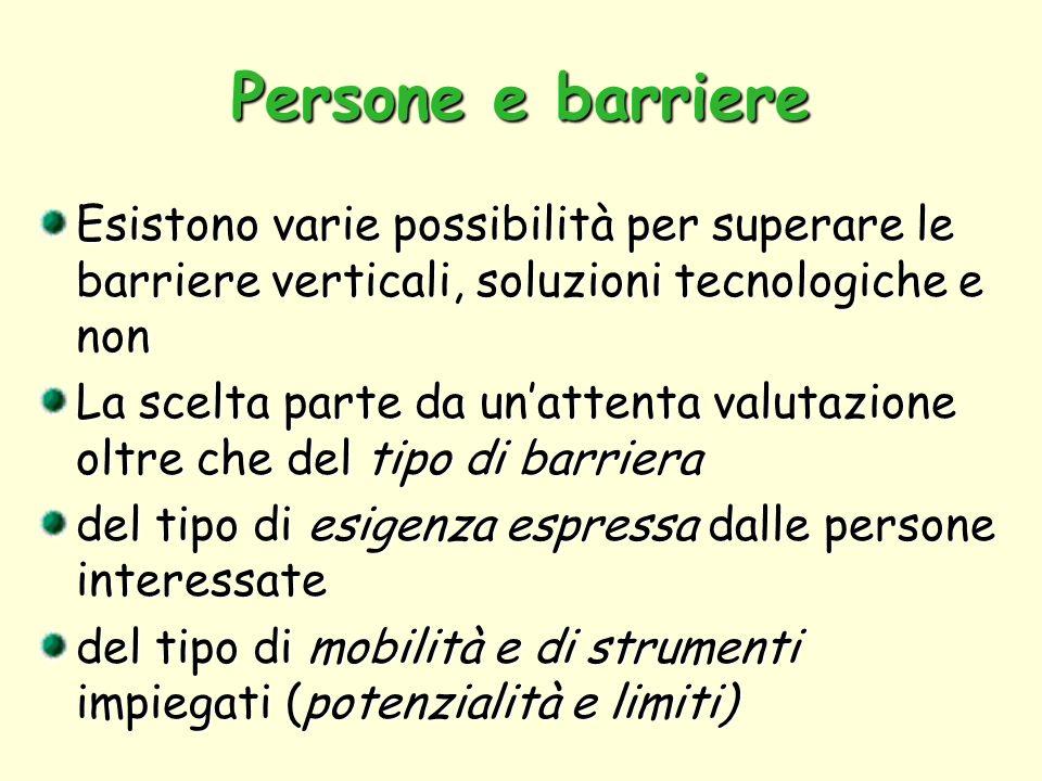 Persone e barriere Esistono varie possibilità per superare le barriere verticali, soluzioni tecnologiche e non.