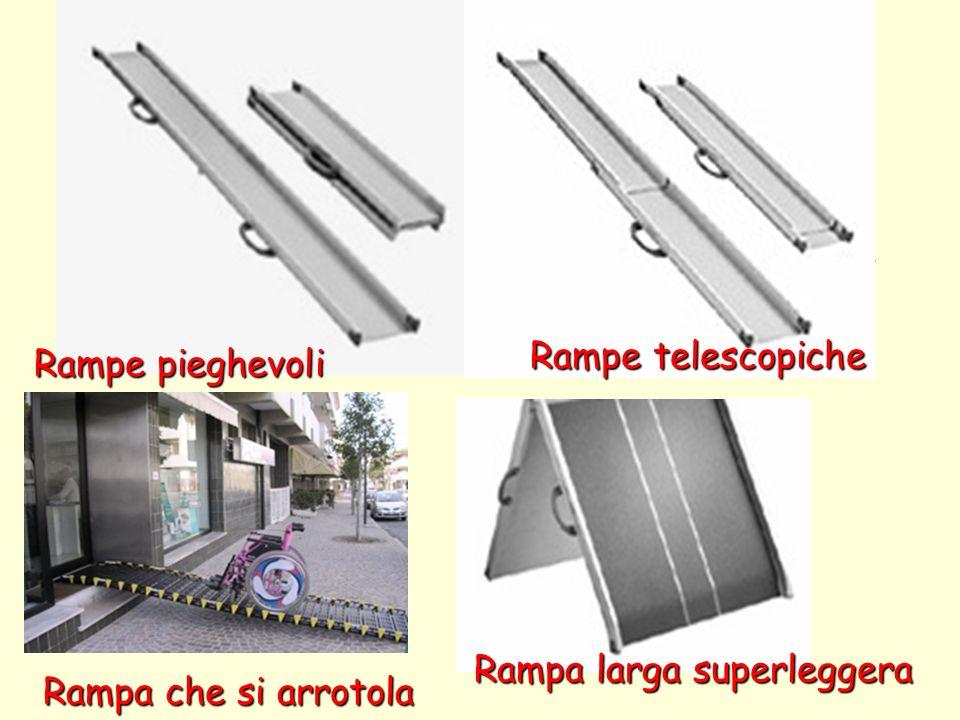 Rampe mobili Sono utili negli spostamenti/viaggi soprattutto se costruiti in un materiale leggero. Rampe telescopiche.