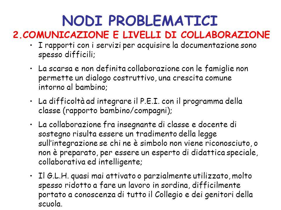 NODI PROBLEMATICI 2.COMUNICAZIONE E LIVELLI DI COLLABORAZIONE