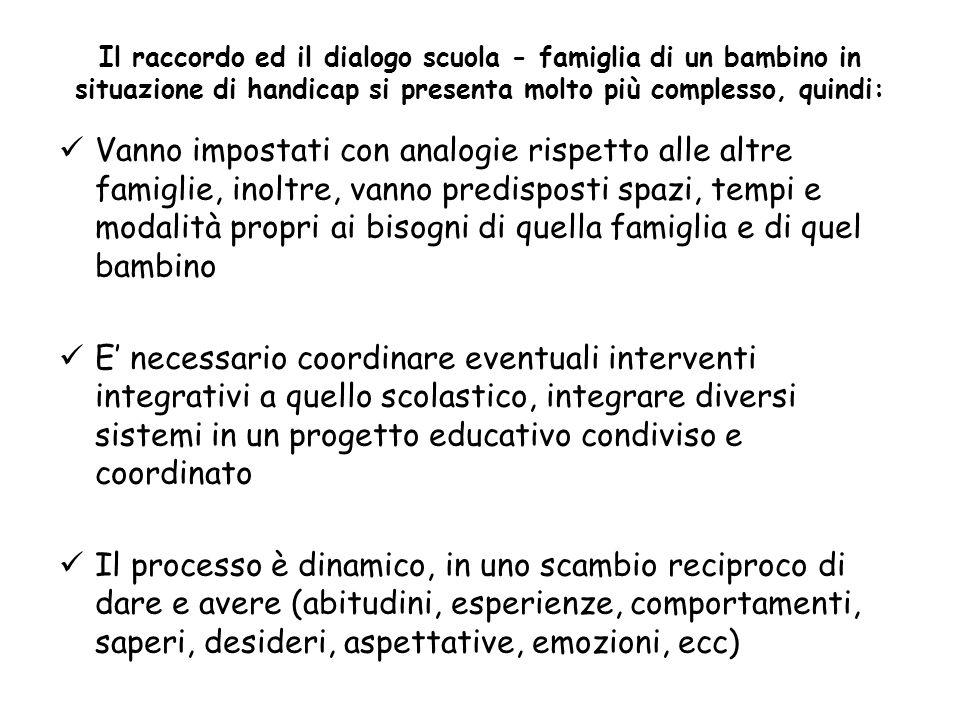 Il raccordo ed il dialogo scuola - famiglia di un bambino in situazione di handicap si presenta molto più complesso, quindi: