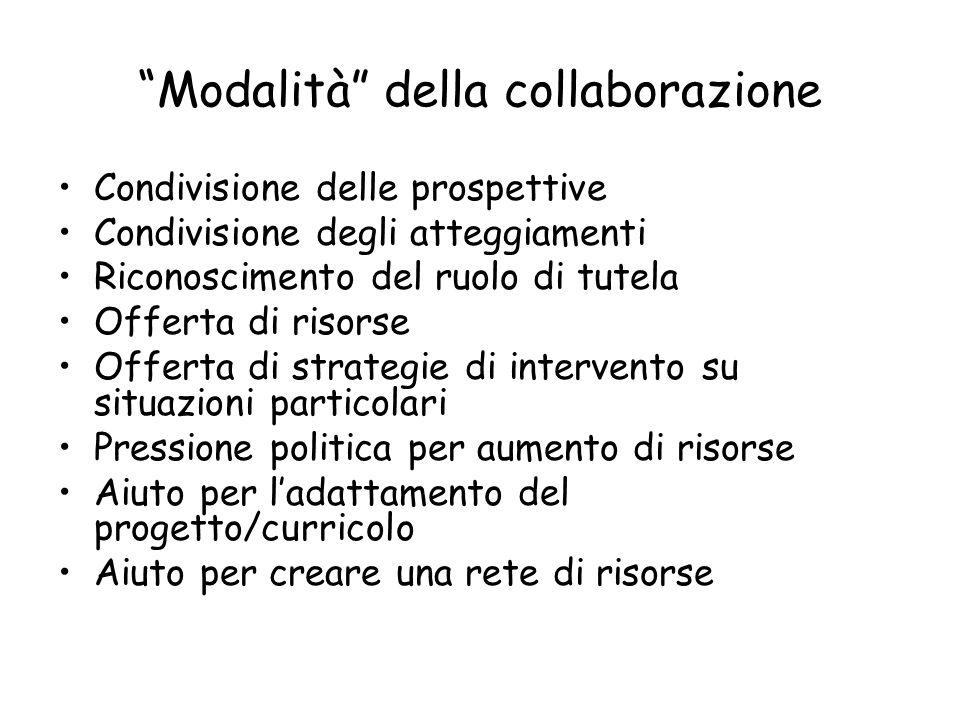 Modalità della collaborazione
