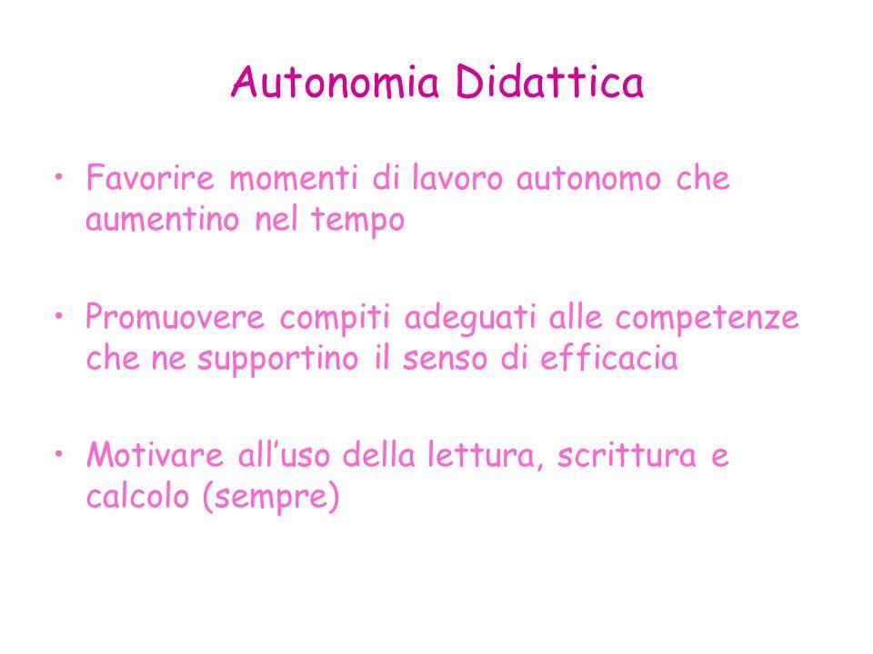 Autonomia Didattica Favorire momenti di lavoro autonomo che aumentino nel tempo.