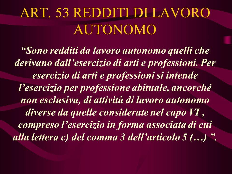 ART. 53 REDDITI DI LAVORO AUTONOMO