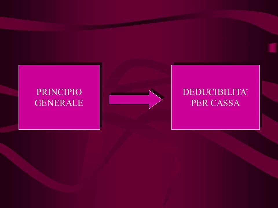 PRINCIPIO GENERALE DEDUCIBILITA' PER CASSA