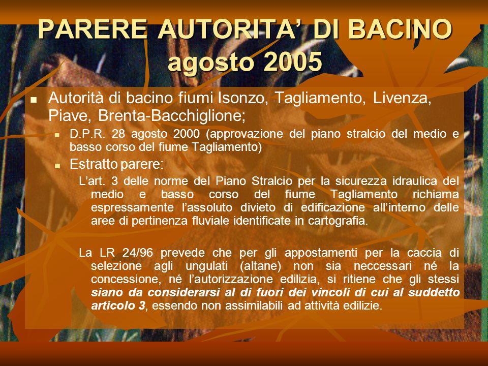 PARERE AUTORITA' DI BACINO agosto 2005