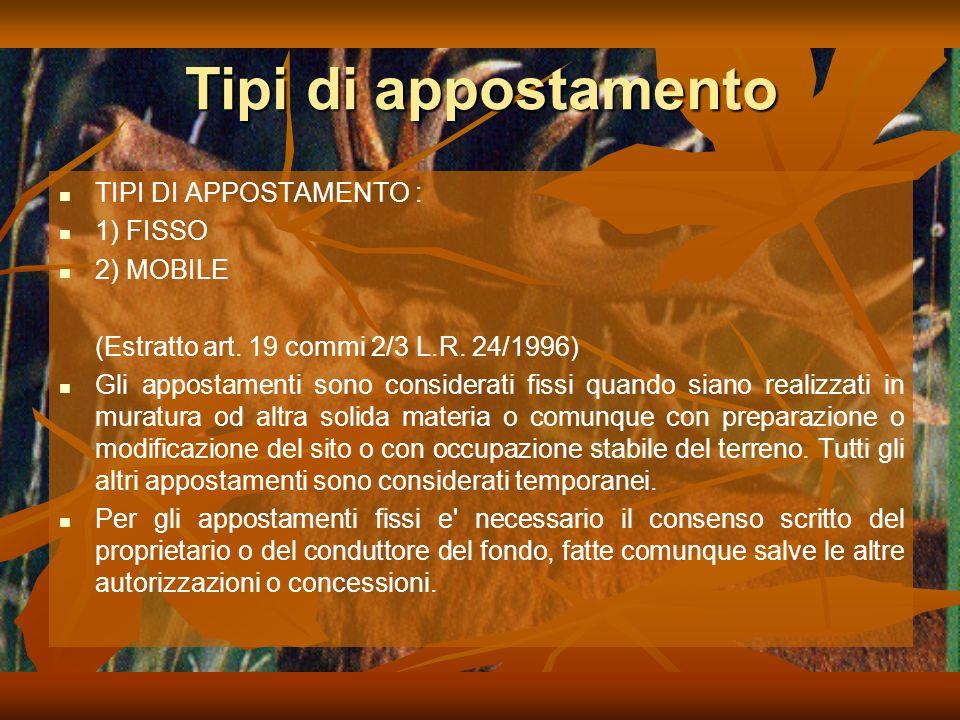 Tipi di appostamento TIPI DI APPOSTAMENTO : 1) FISSO 2) MOBILE