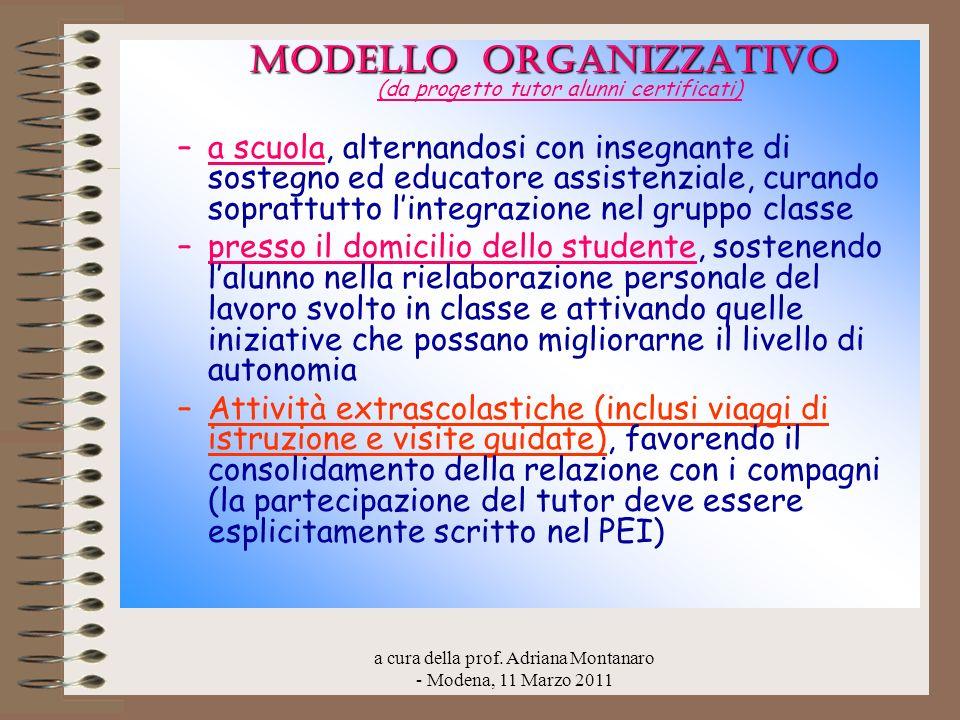 MODELLO ORGANIZZATIVO (da progetto tutor alunni certificati)