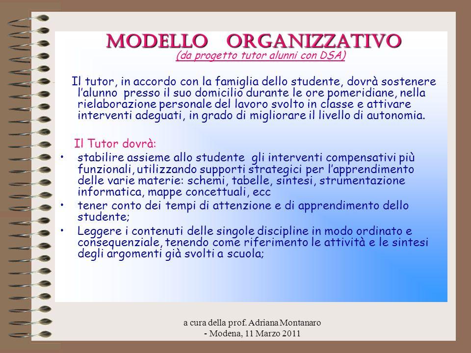 MODELLO ORGANIZZATIVO (da progetto tutor alunni con DSA)