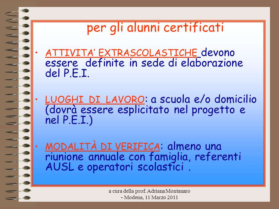 per gli alunni certificati