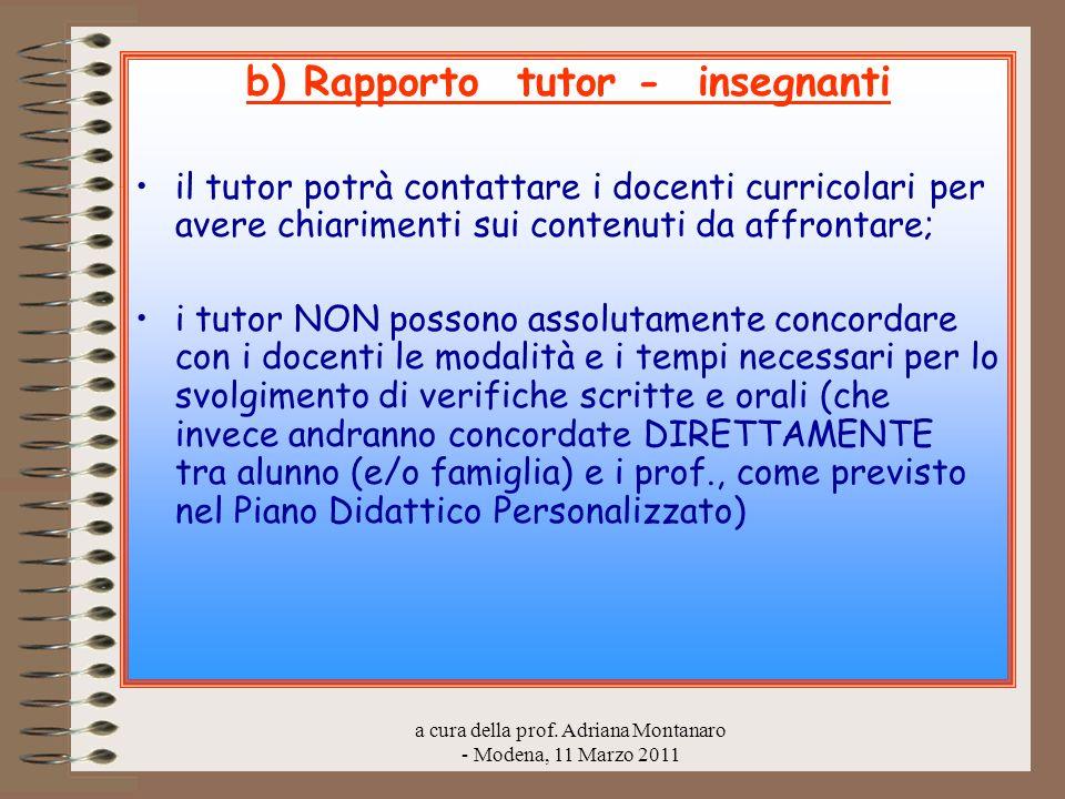 b) Rapporto tutor - insegnanti