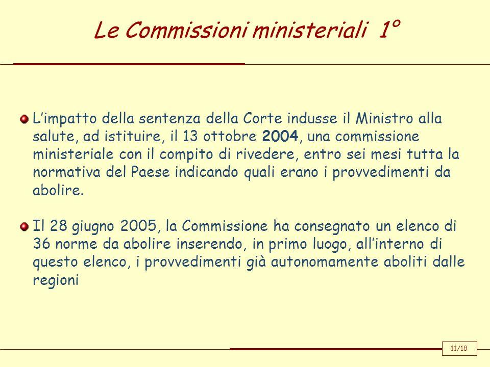 Le Commissioni ministeriali 1°