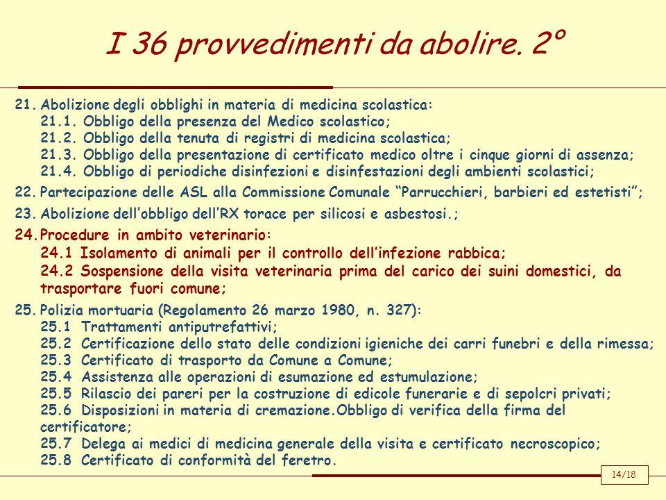 I 36 provvedimenti da abolire. 2°