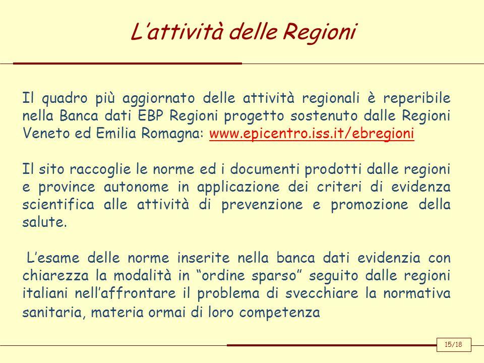 L'attività delle Regioni