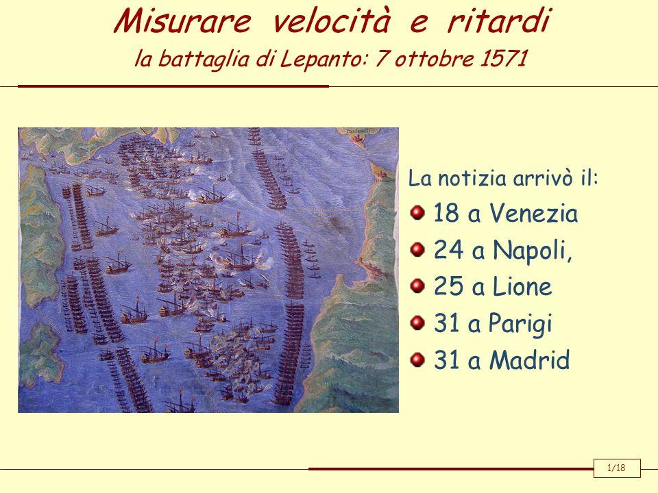 Misurare velocità e ritardi la battaglia di Lepanto: 7 ottobre 1571