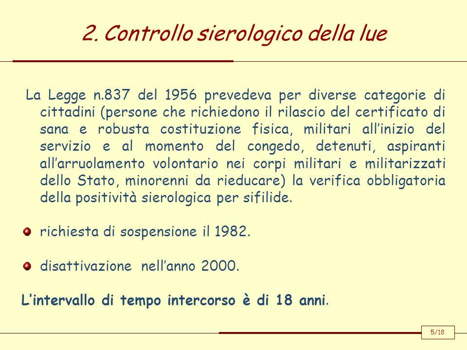 2. Controllo sierologico della lue