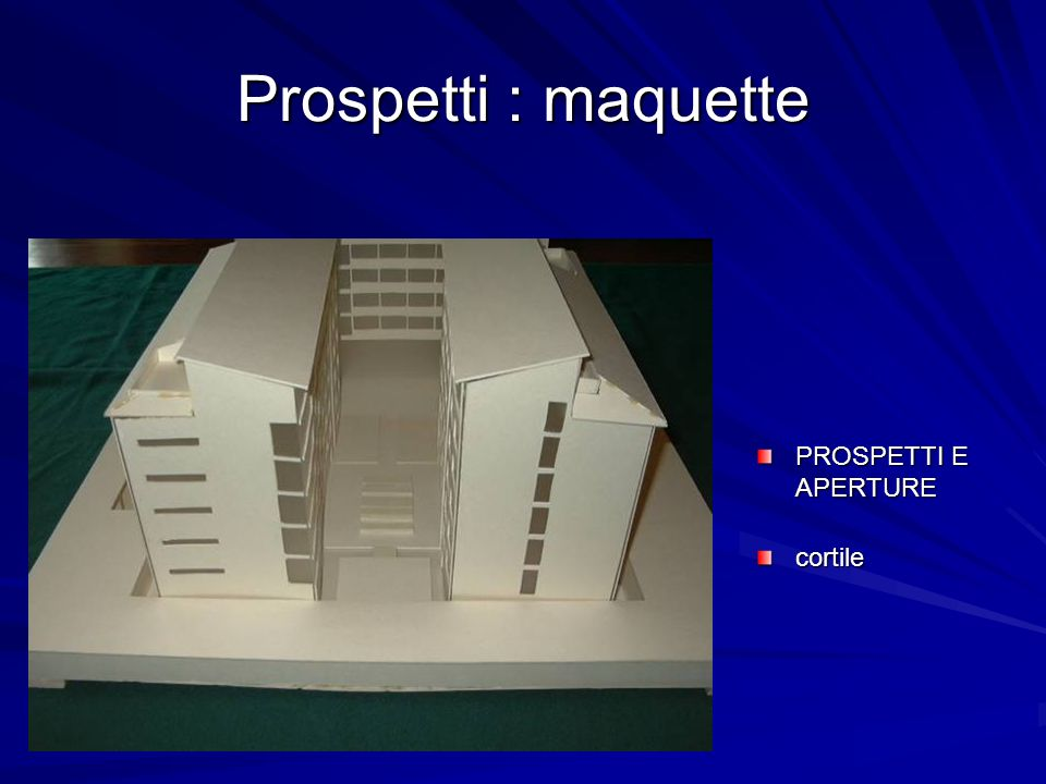 Prospetti : maquette PROSPETTI E APERTURE cortile