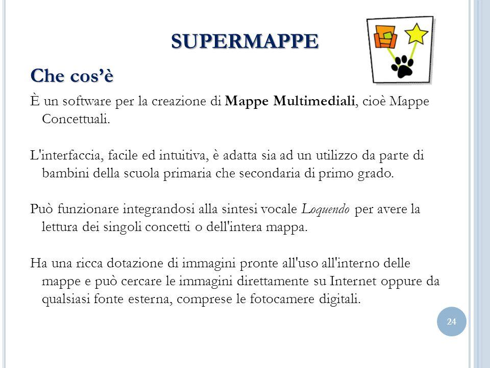 SUPERMAPPE Che cos'è. È un software per la creazione di Mappe Multimediali, cioè Mappe Concettuali.