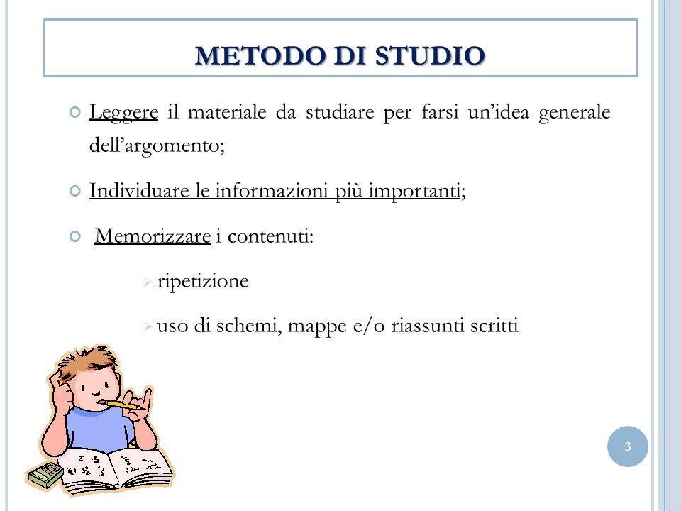 METODO DI STUDIO Leggere il materiale da studiare per farsi un'idea generale dell'argomento; Individuare le informazioni più importanti;