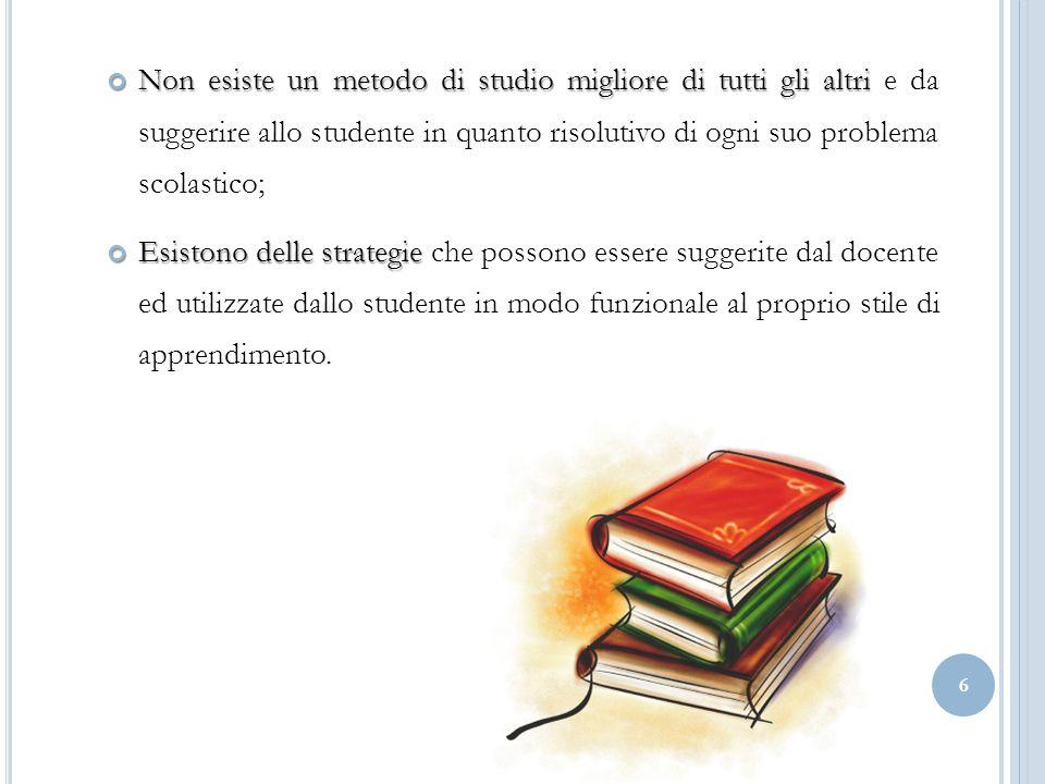 Non esiste un metodo di studio migliore di tutti gli altri e da suggerire allo studente in quanto risolutivo di ogni suo problema scolastico;