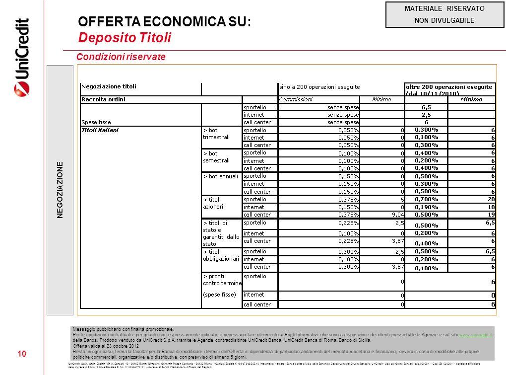 OFFERTA ECONOMICA SU: Deposito Titoli Condizioni riservate 10