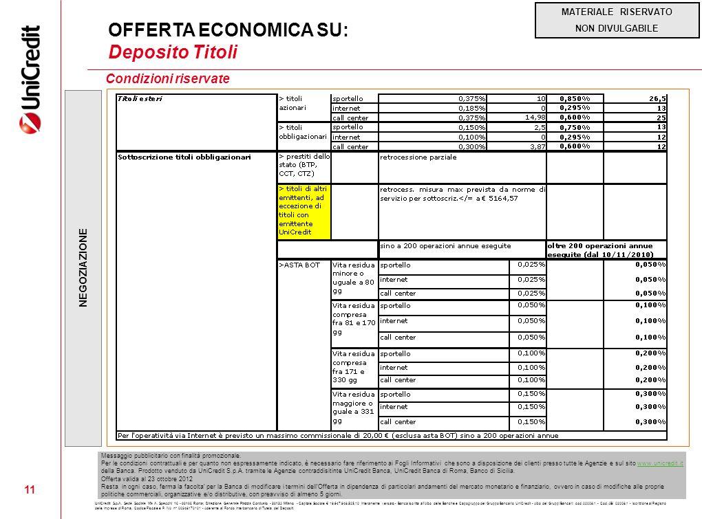 OFFERTA ECONOMICA SU: Deposito Titoli Condizioni riservate 11