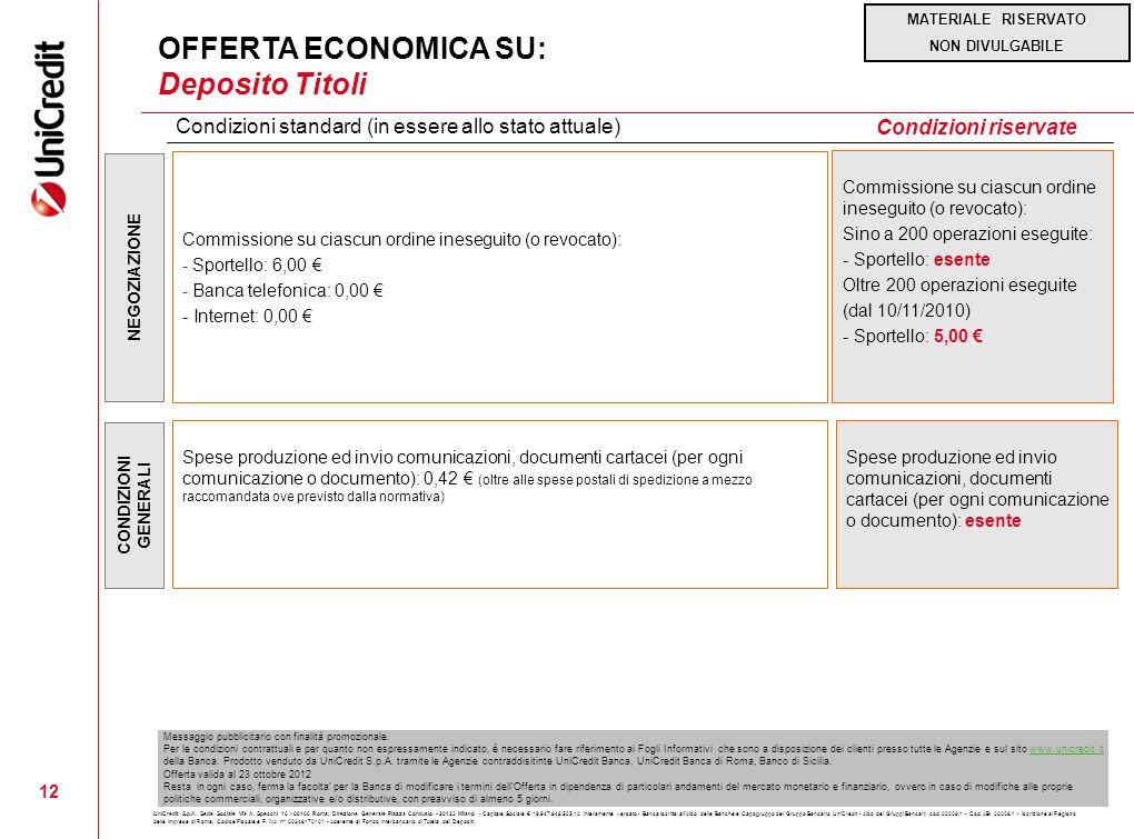 OFFERTA ECONOMICA SU: Deposito Titoli