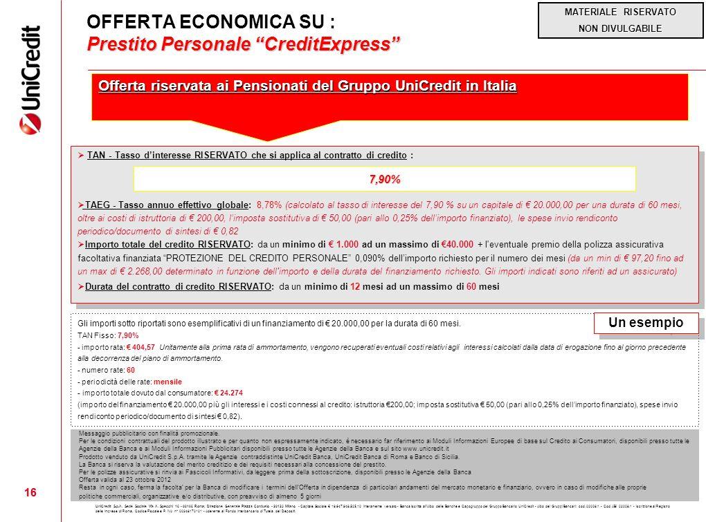 OFFERTA ECONOMICA SU : Prestito Personale CreditExpress