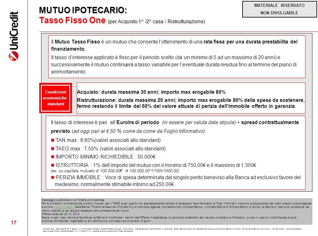 MUTUO IPOTECARIO: Tasso Fisso One (per Acquisto 1^ /2^ casa / Ristrutturazione)