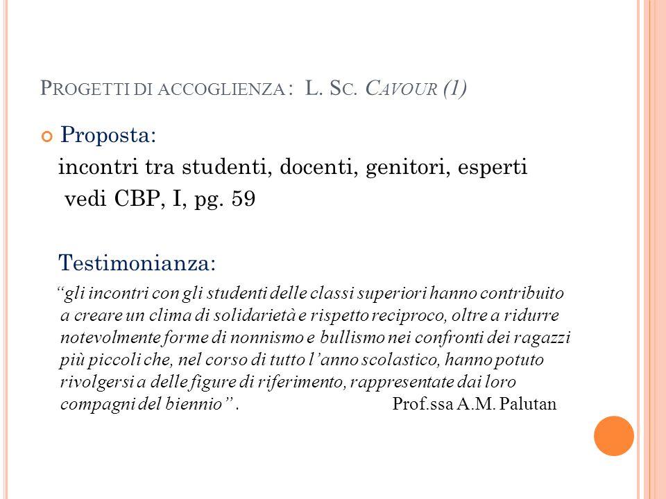 Progetti di accoglienza : L. Sc. Cavour (1)