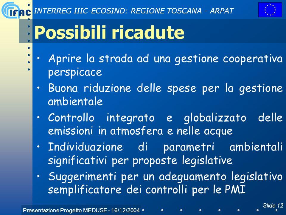 Possibili ricadute Aprire la strada ad una gestione cooperativa perspicace. Buona riduzione delle spese per la gestione ambientale.