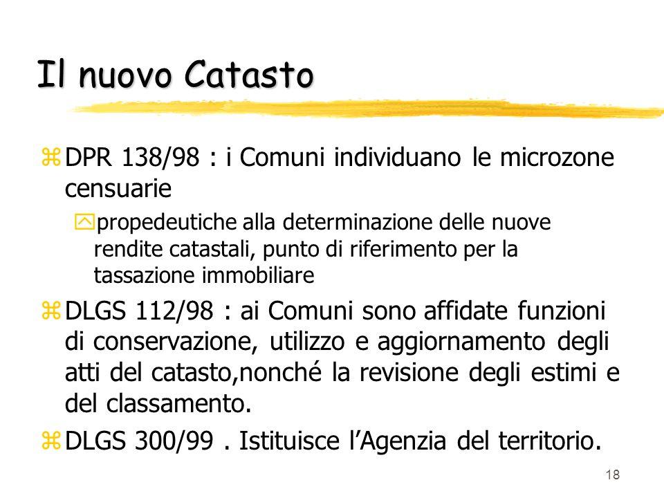 Il nuovo Catasto DPR 138/98 : i Comuni individuano le microzone censuarie.
