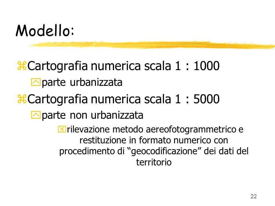 Modello: Cartografia numerica scala 1 : 1000