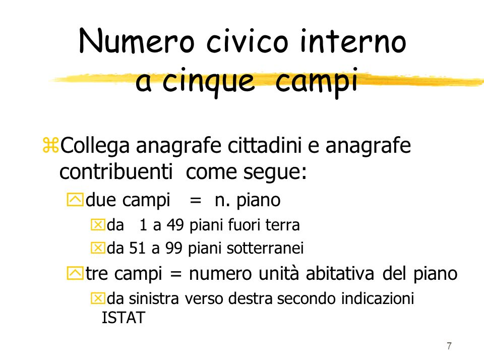 Numero civico interno a cinque campi