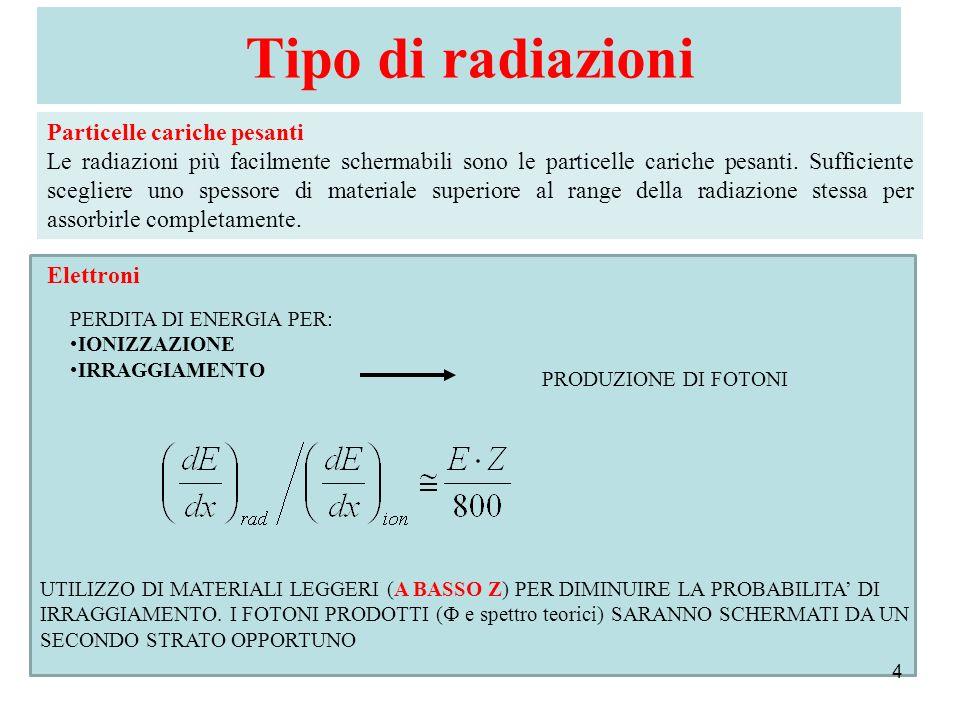 Tipo di radiazioni Particelle cariche pesanti