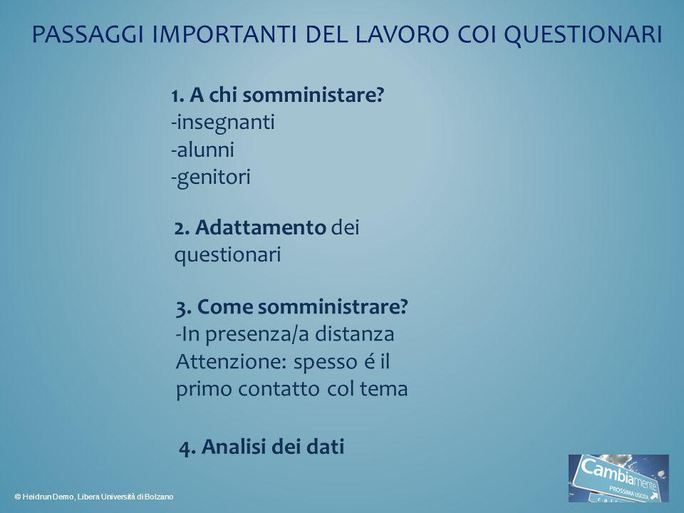PASSAGGI IMPORTANTI DEL LAVORO COI QUESTIONARI