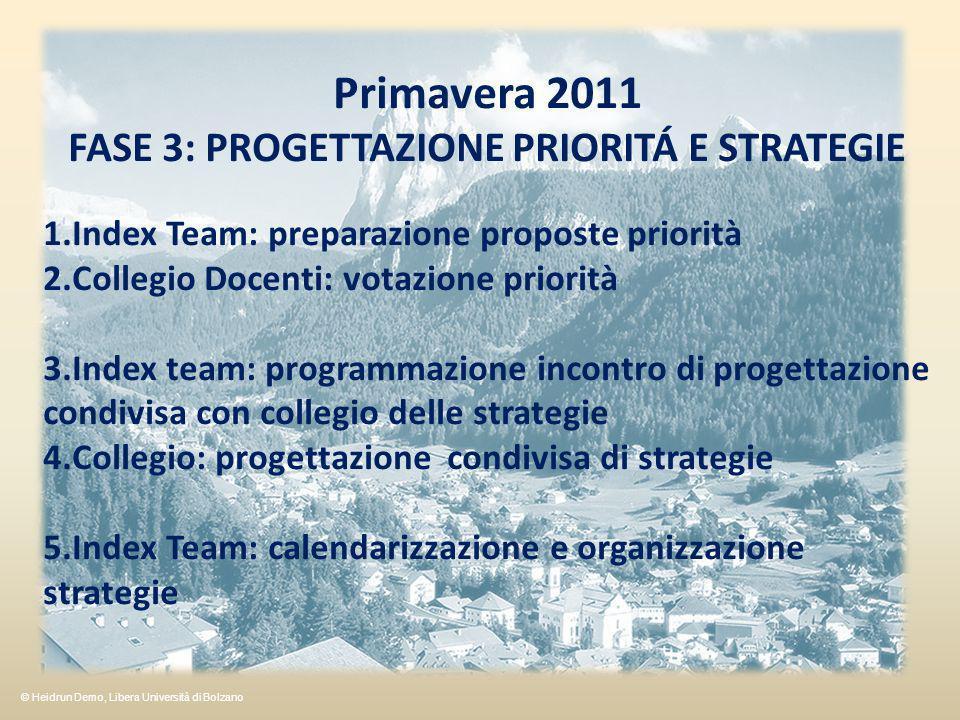 FASE 3: PROGETTAZIONE PRIORITÁ E STRATEGIE
