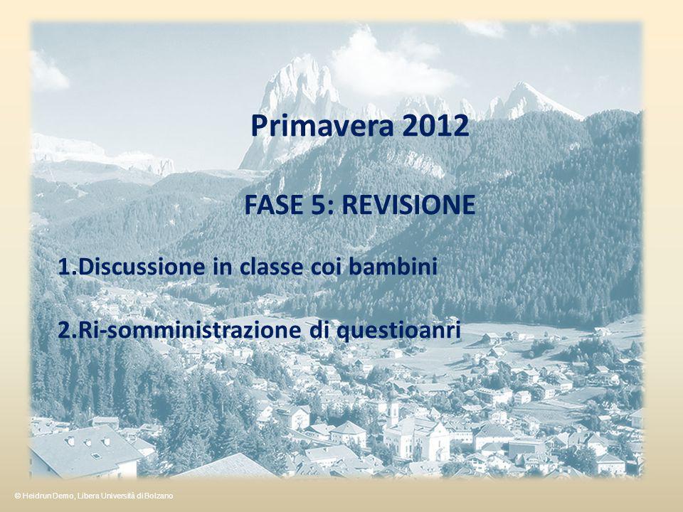 Primavera 2012 FASE 5: REVISIONE Discussione in classe coi bambini